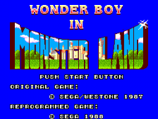 Wonder Boy in Monster Land title screenshot
