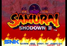 Samurai Shodown III title screenshot