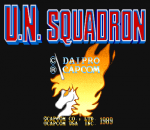 U.N. Squadron title screenshot