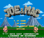 Joe & Mac title screenshot